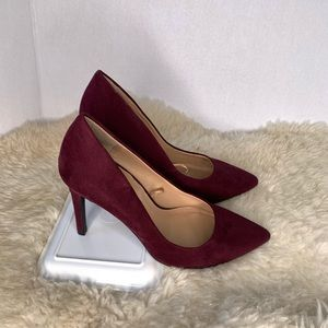 NY&Co Suede Pumps Burgundy Size 7